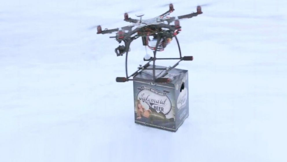 PHOTO: Lakemaid Beer Tests Drone Delivery on Frozen Northern Lakes.