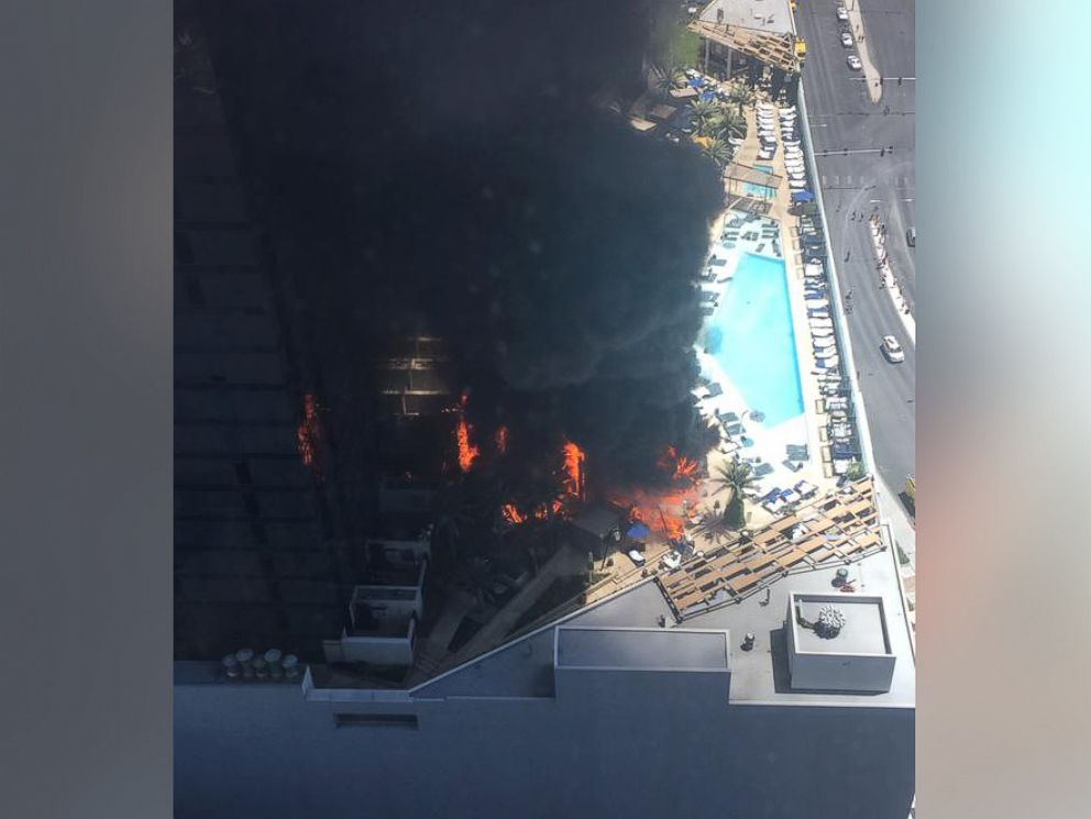 PHOTO: @KylersMind posted this photo to Twitter on July 25, 2015: The cosmopolitan in Las Vegas is on fire.