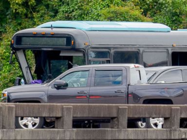 PHOTO: A charter bus crashed into vehicles on Interstate 10 near La Place, Louisiana, Aug. 28, 2016.
