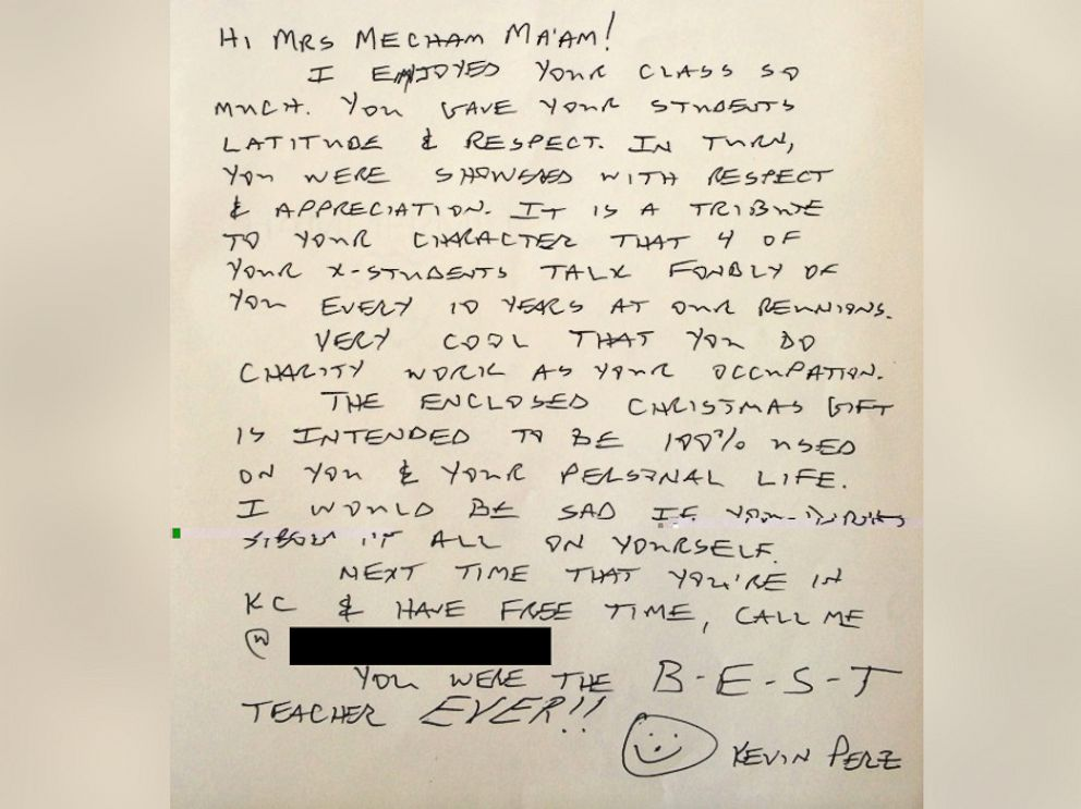 PHOTO: Kevin Perz sent this letter to his high school teacher with a $10,000 check enclosed.