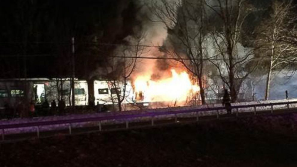PHOTO: A Metro North train struck a car, sparking a fire, north of White Plains, N.Y., Feb. 3, 2015.