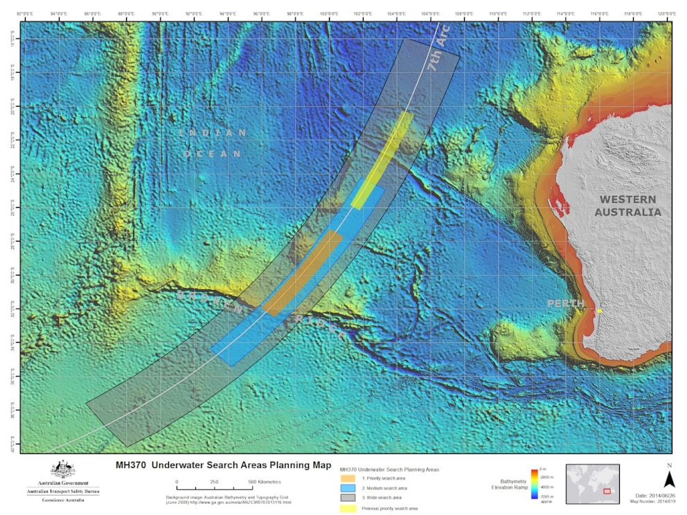Photo The Mh370 Underwater Search Area In The Southern Indian Ocean As Of Now