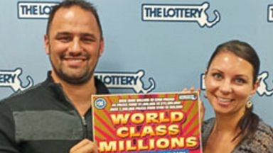 PHOTO: Michael Milford collects his $15 million dollar Massachusetts lottery prize, March 3, 2015, in Braintree, MA.