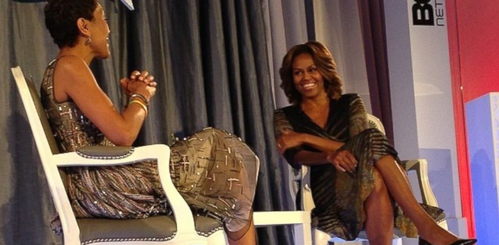 PHOTO: Robin Roberts and Michelle Obama during BETs Fifth Annual Leading Women Defined Summit, March 5, 2014.