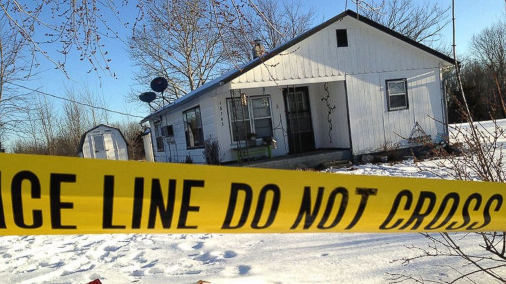 PHOTO: Police tape surrounds one of the crime scenes in Tyrone, situated in south-central Missouri.