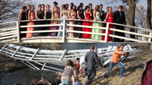 HT nebraska prom bridge collapse split w2 jt 140410 16x9 608 Prom Goers Fall in Creek Posing for Bridge Photo