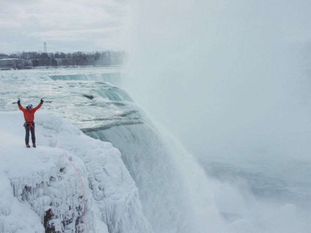 PHOTO: Will Gadd, a professional climber, scaled a frozen section of Niagara Falls, Jan. 27, 2015.