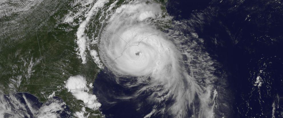 Satellite image of Hurricane Arthur moving towards the North Carolina coast. July 3, 2014.