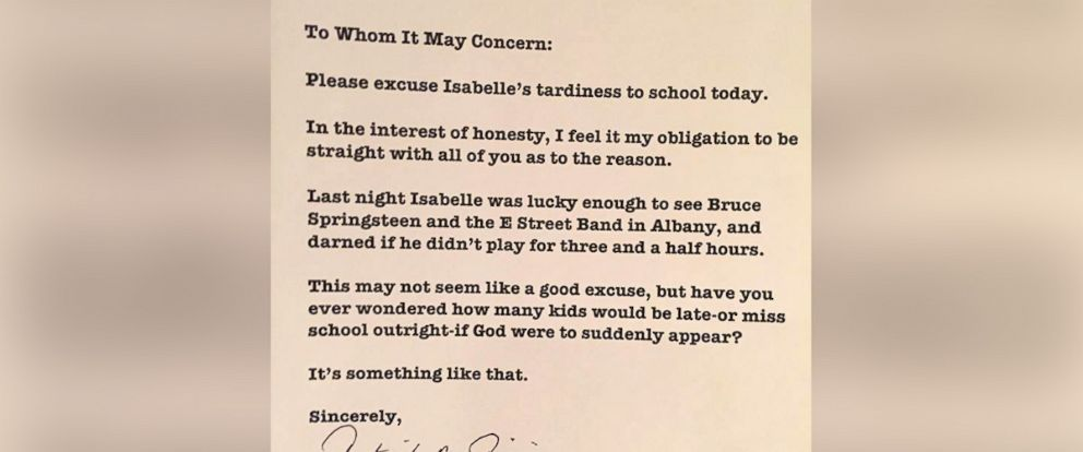 PHOTO: Patrick Pipino wrote an honest note to his daughters school excusing her tardiness due to a Bruce Springsteen concert.