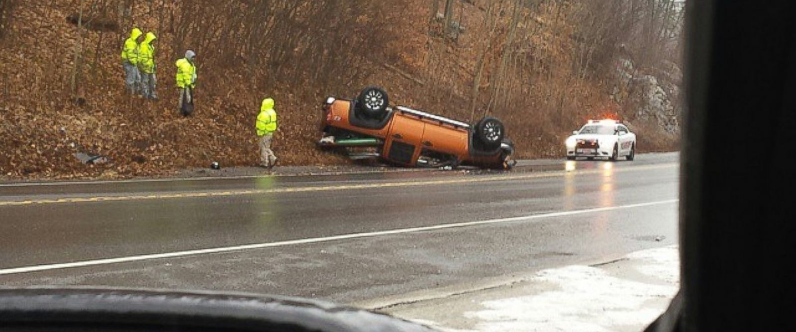 PHOTO: An overturned car on Rt 9 between Peekskill and Cold Spring, NY, Jan. 18, 2015.