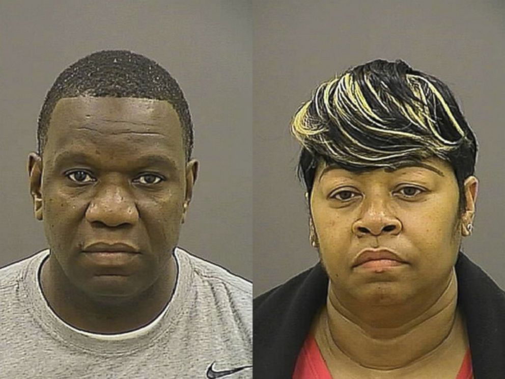 PHOTO: Anthony Spence, 44, (left) and Saverna Bias, 53, (right) are pictured here in their booking photos from March 8, 2016, at Baltimore Central Booking and Intake Center.