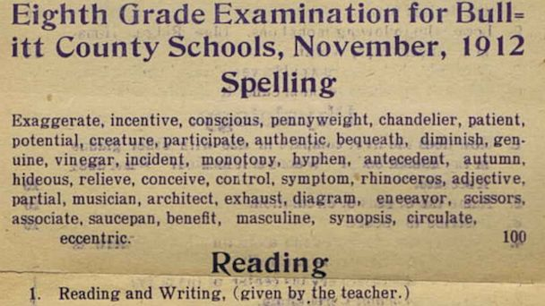 HT old 1912 exam tk 130809 16x9 608 8th Grade Exam Puts Adults to the Test