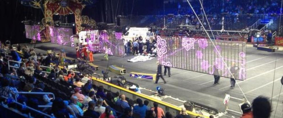 """PHOTO: Sydney Bragg tweeted this photo on May 4,2014, """"There was an accident at the circus during an act and snapped the performers necks. Im like [shaking] and frightened."""""""