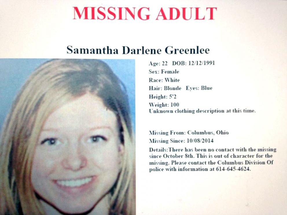 PHOTO: Samantha Greenlee, 22, went missing Oct. 8, 2014.