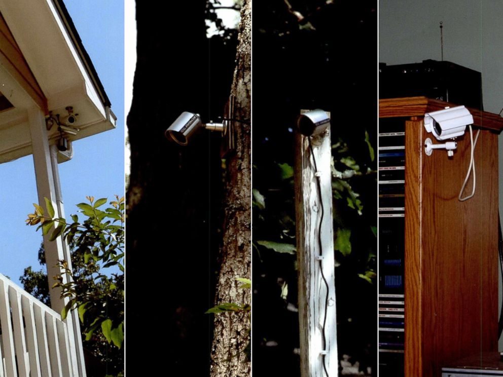 PHOTO: These photos from Gwinnett County Police show some of the 21 surveillance cameras Matt Leili installed throughout his home.