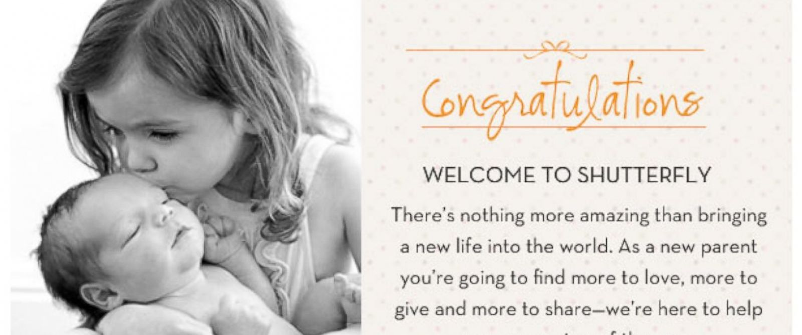 PHOTO: Shutterfly emailed this congratulations to an untold number of people, May 14, 2014.