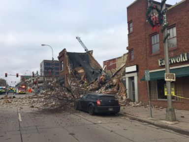 PHOTO: Firefighters rescued a woman from a collapsed building in Sioux Falls, South Dakota.