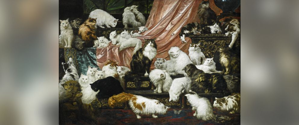 "PHOTO: Nineteenth century painting ""My Wifes Lovers,"" dubbed the ""worlds largest cat painting,"" was sold at a Sothebys New York auction for $826,000 on Nov. 3, 2015."