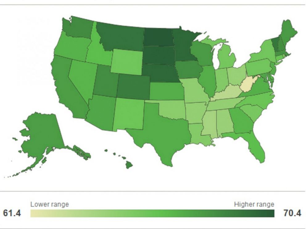 PHOTO: A map of the United States show the results of Gallups Well-Being Index for 2013.