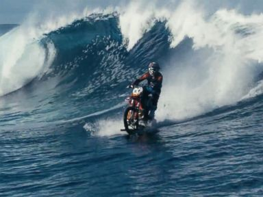 PHOTO: Robbie Maddison rode a modified dirt bike on the waves in Tahiti.