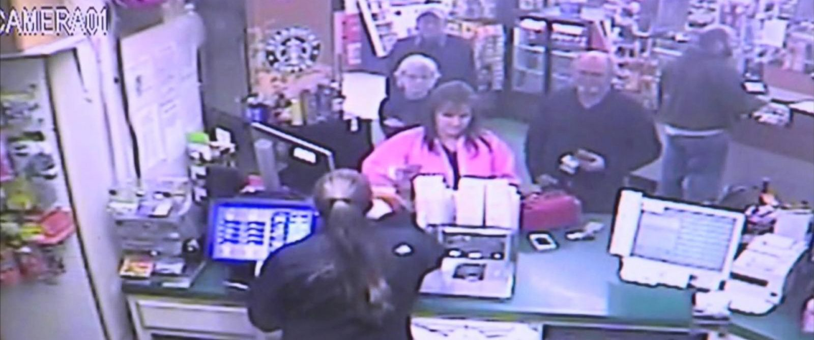 PHOTO: A still image from surveillance footage shows the moment John and Lisa Robinson bought a winning Powerball ticket from Naifehs Food Mart in Munford, Tennessee.