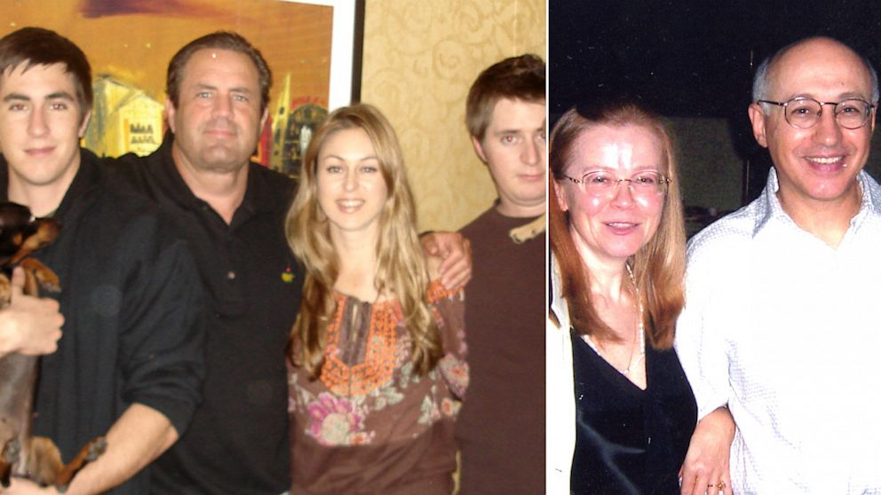 PHOTO: Two families destroyed: John Upton, left, was shot by Michael Vilkin, right, in what began as a neighborly dispute. Left: Upton and his family. Right: Vilkin and his wife, Tamara Vilkin.
