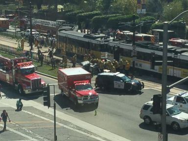 PHOTO: Over 20 people were injured when a metro rail train collided with a car near the University of Southern California in downtown Los Angeles.