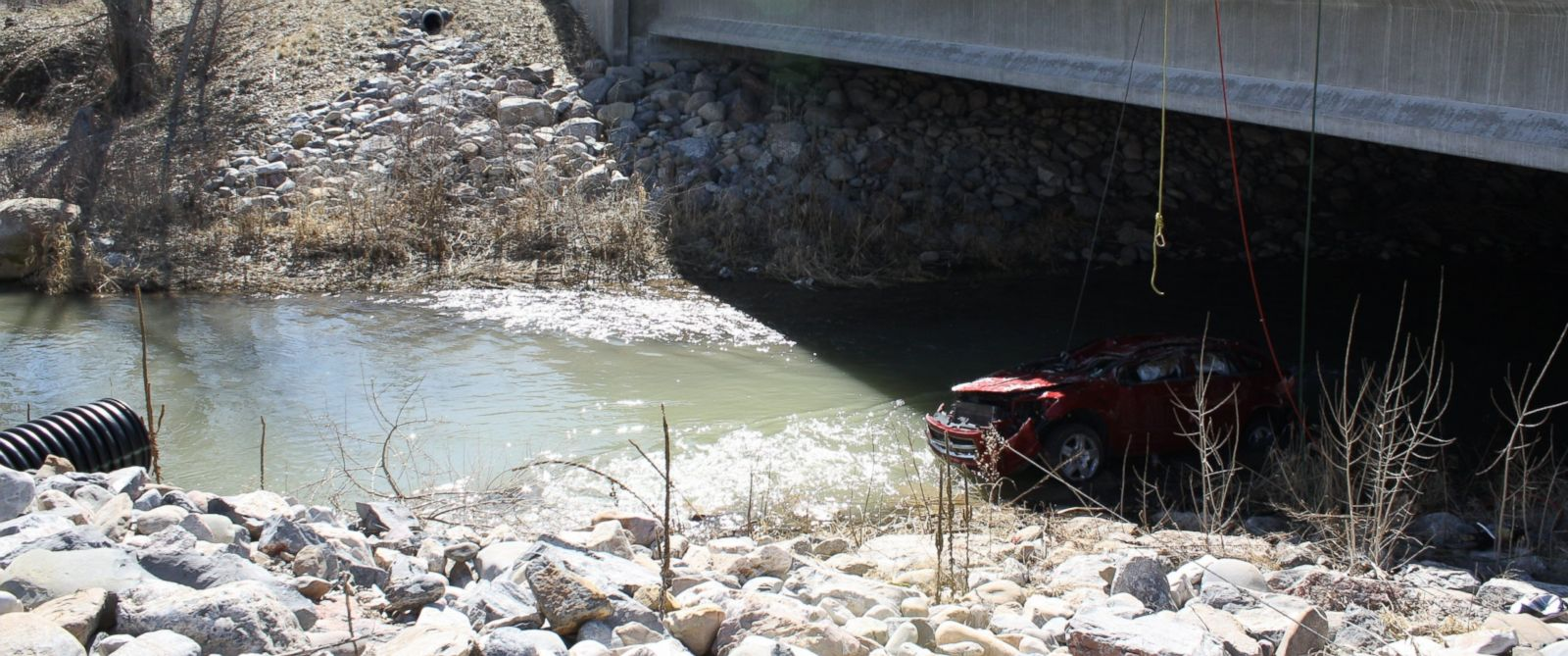 A baby was rescued alive from a car overturned in a Utah river on Saturday, March 7, 2015.