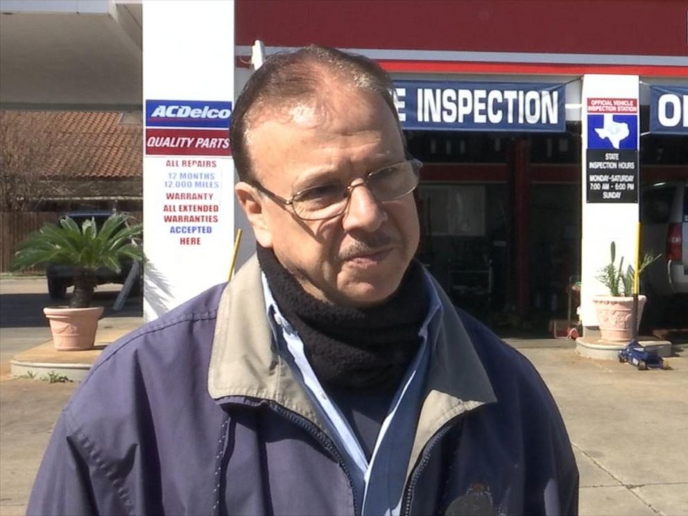 PHOTO:Sam Najjarin, a mechanic at an Exxon in Houston pictured here, recently repaired the car of Keith Burkitt, who says a complete stranger paid for the repair bill.