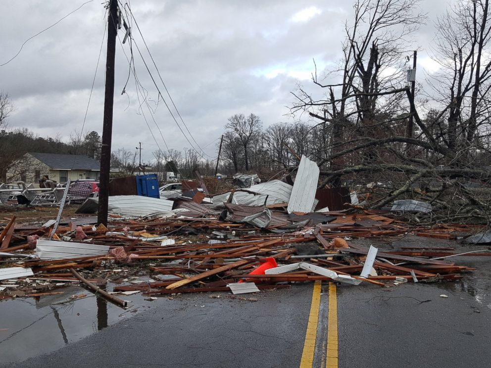 PHOTO: Debris was thrown across a road by bad weather near Waverly, Va., Feb. 24, 2016.