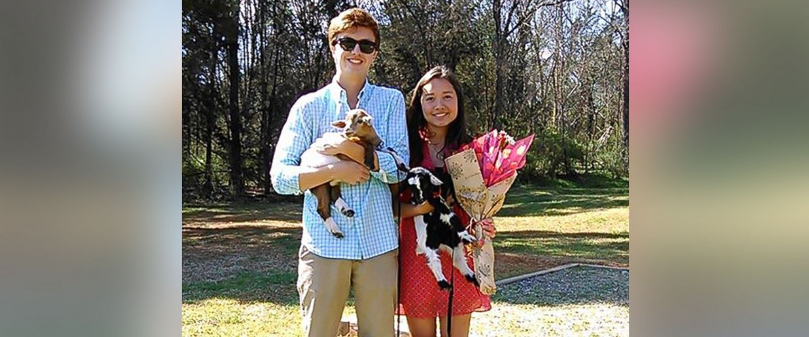 "PHOTO: A North Carolina teen asked out a girl to the prom using two goats from Whispering Hope Farm and a sign that said, ""Will you goat to the prom with me?"" on Monday, March 30, 2015"