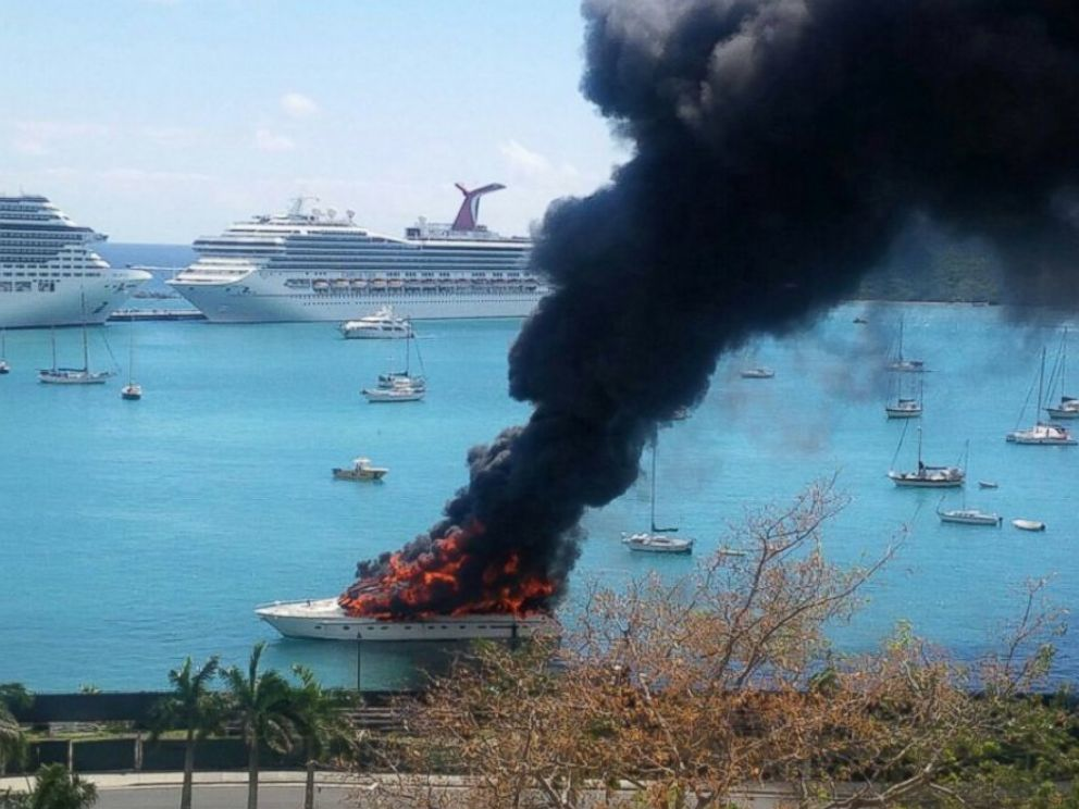PHOTO: Bonafide posted this photo to Twitter on March 16, 2016 with the caption, Soooo theres a yacht on fire.