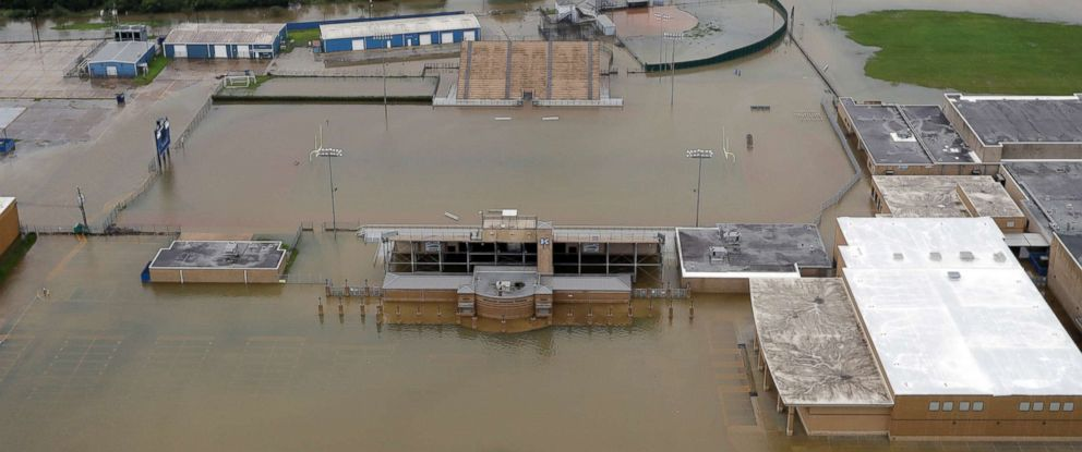 PHOTO: C.E. King High Schools football field is covered by floodwaters from Tropical Storm Harvey Tuesday, Aug. 29, 2017, in Houston.