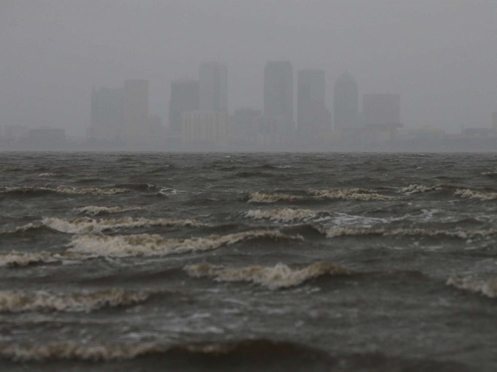 PHOTO: The Tampa skyline is pictured across Hillsborough Bay ahead of the arrival of Hurricane Irma in Tampa, Fla., Sept. 10, 2017.