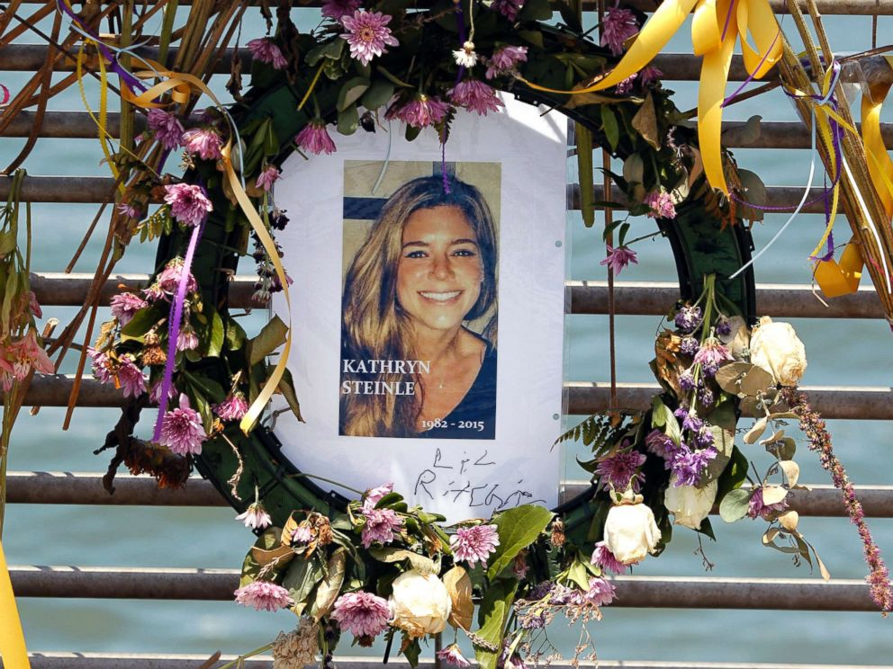 PHOTO: Flowers and a portrait of Kate Steinle are displayed at a memorial site on Pier 14 on July 17, 2015, in San Francisco, Calif.