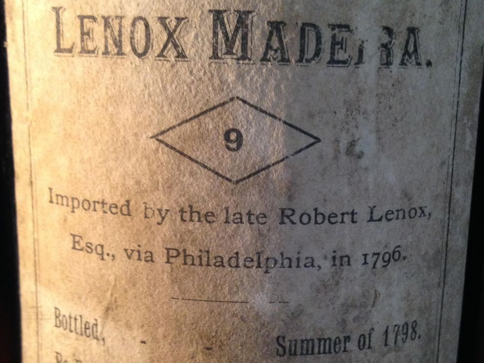 PHOTO: Close up of the label on a bottle of 1796 Madeira wine in the cellar at Liberty Hall Museum in New Jersey.