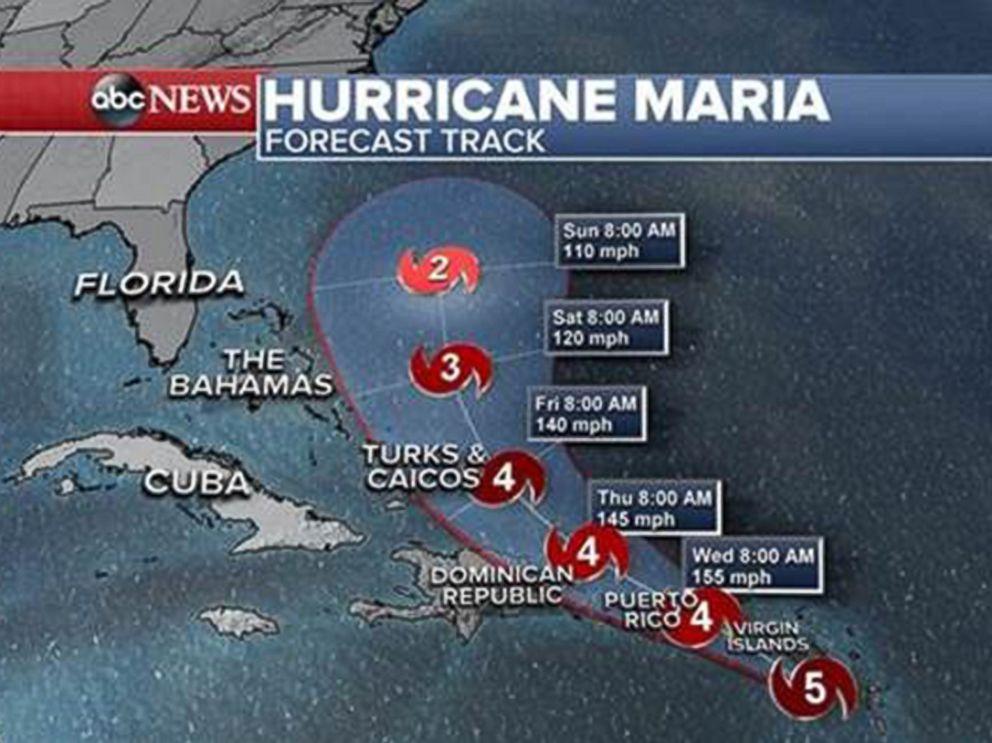 PHOTO: Hurricane Maria forecast track as of Sept. 19, 2017.