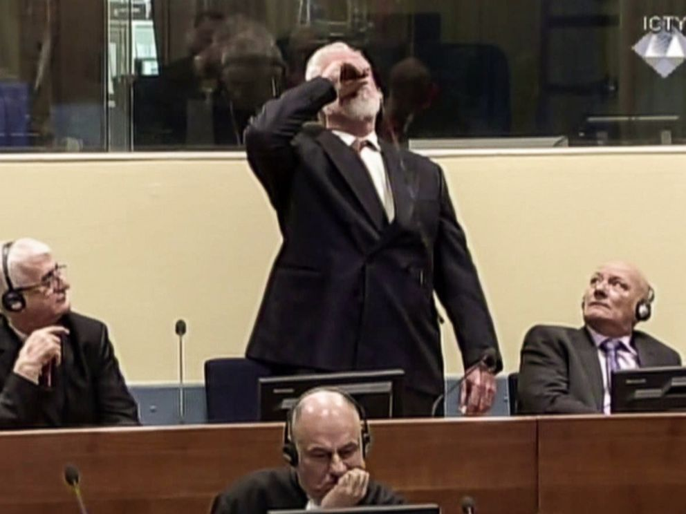 PHOTO: Former Croatian general Slobodan Praljak swallowed what is believed to be poison, during his judgement at the UN war crimes court to protest the upholding of a 20-year jail term, Nov.29, 2017.