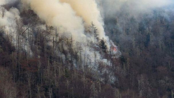 PHOTO: Smoke plumes from wildfires are shown in the Great Smokey Mountains near Gatlinburg, Tennessee, Nov. 28, 2016. Photo taken November 28, 2016.