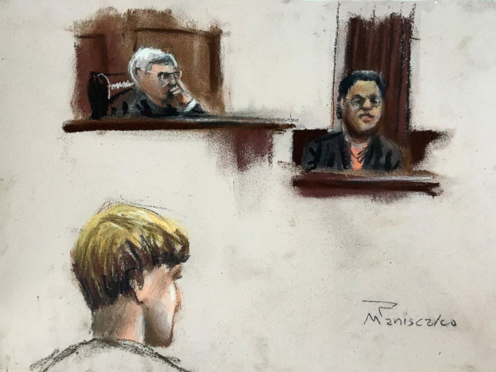 PHOTO: Jennifer Pinckney, right, testifies in this court sketch at the trial of Dylann Roof, who is facing the death penalty for the killings of nine black churchgoers in Charleston, South Carolina, Jan. 4, 2017.