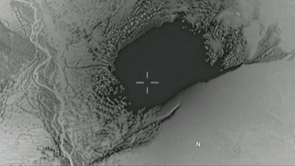 PHOTO: A still image taken from a video released by the U.S. Department of Defense, April 14, 2017, shows the moment a MOAB, or