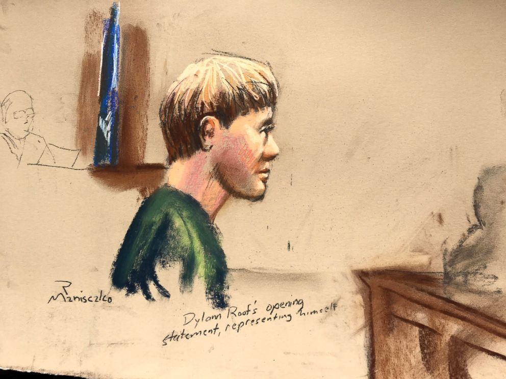 PHOTO: Dylann Roof, who is facing the death penalty for the hate-fueled killings of nine black churchgoers, makes his opening statement at his trial in this courtroom sketch in Charleston, South Carolina, Jan. 4, 2017.