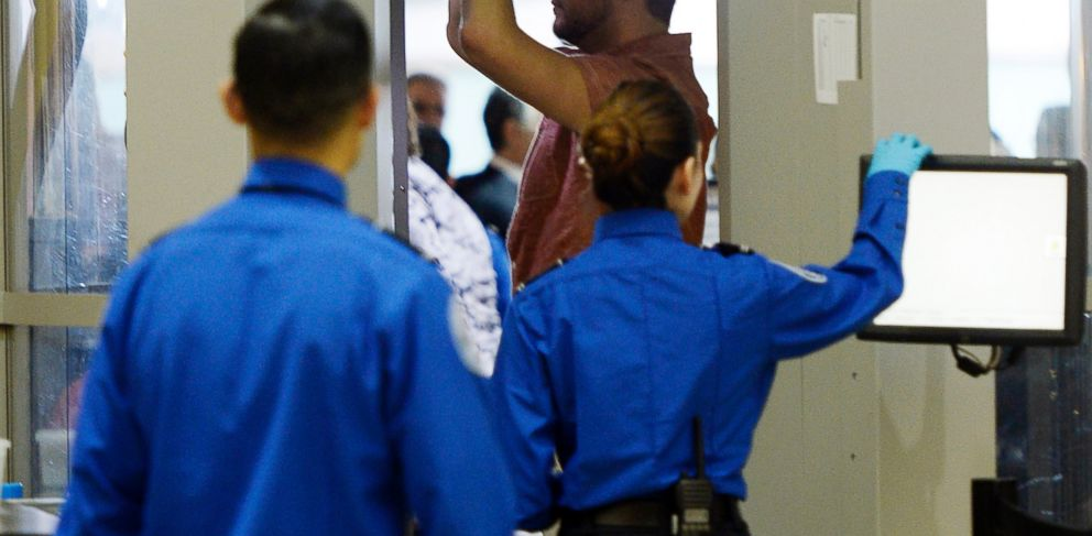 PHOTO: An airline passenger stands in a full-body scanner at Transportation Security Administration checkpoint at Los Angeles International Airport, Calif. in this Feb. 20, 2014 file photo.