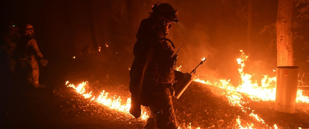 PHOTO: Firefighter Brendon Gorman ignites backfire to stop the Soberanes Fires spread along Palo Colorado Road near Big Sur, California, July 27, 2016.