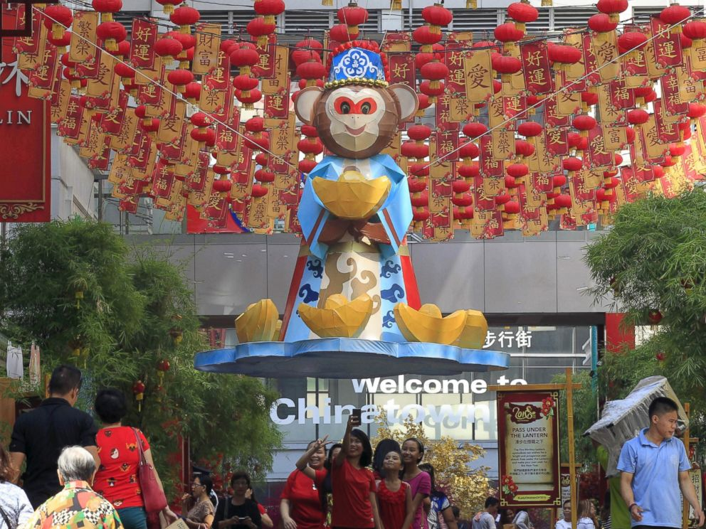 PHOTO: A giant wooden made monkey is seen as part of decorations in preparations for the coming Chinese New Year celebrations on Feb. 8, 2016 in Chinatown in Manila, Feb. 5, 2016.