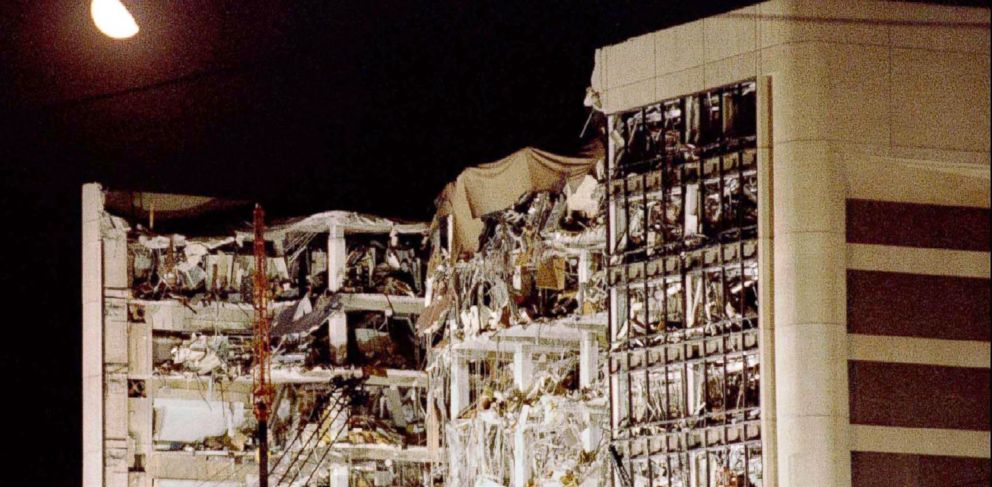 PHOTO: The moon hangs over the wreckage of the Alfred P. Murrah Federal Building in downtown Oklahoma City in this April 21, 1995 file photo.
