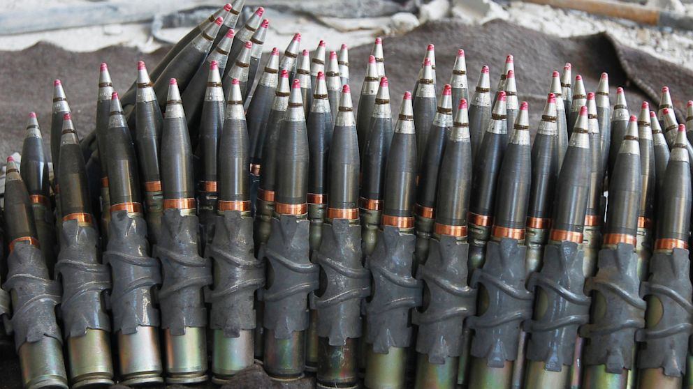 PHOTO: Ammunition is seen at an area controlled by forces loyal to Syrias President Bashar al-Assad at the front line during clashes with opposition fighters during a guided tour by the Syrian Army in the Damascus suburb of Jobar, Aug. 24, 2013.