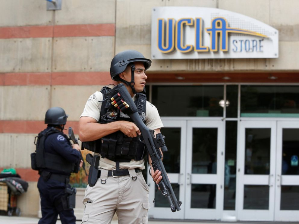 PHOTO: A Los Angeles Metro Police officer stands watch on the University of California, Los Angeles campus after it was placed on lockdown following reports of a shooter in Los Angeles, June 1, 2016.