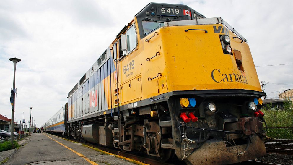 PHOTO: A Via Rail Canada passenger train sits at Dorval Station in Montreal, July 22, 2009.