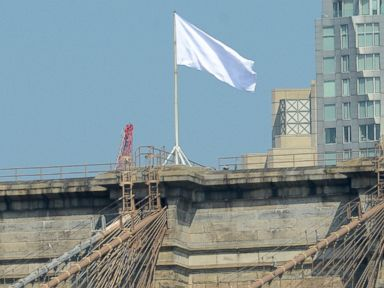 PHOTO: Mysterious white flags are pictured flying over the two towers of the Brooklyn Bridge in New York City on July 22, 2014.